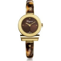 Salvatore Ferragamo Designer Women's Watches, Gancino Gold IP Stainless Steel and Brown Acetate Women's Watch w/Brown Dial found on Bargain Bro UK from FORZIERI.COM (UK)