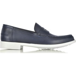 A.Testoni Shoes, Navy Leather Moccasin Shoe