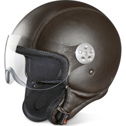 Piquadro Designer Small Leather Goods, Open Face Dark Brown Leather Helmet w/Visor found on Bargain Bro Philippines from FORZIERI  AU for $562.65