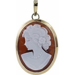 Del Gatto Designer Necklaces, Lady w/Curls Sardonyx Cameo Pendant found on Bargain Bro UK from FORZIERI.COM (UK)