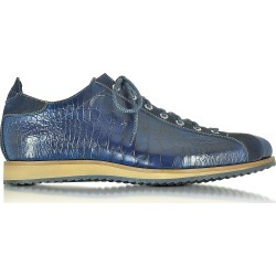 Forzieri Designer Shoes, Italian Handcrafted Indigo Blue Suede & Croco Print Leather Sneaker found on Bargain Bro Philippines from Forzieri for $598.00