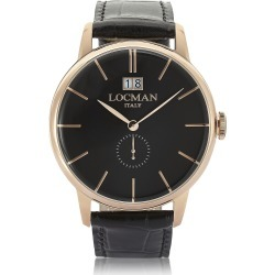Locman Designer Men's Watches, 1960 Rose Gold PVD Stainless Steel Men's Watch w/Black Croco Embossed Leather Strap found on Bargain Bro UK from FORZIERI.COM (UK)