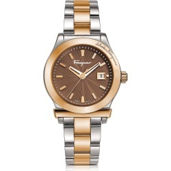 Salvatore Ferragamo Designer Women's Watches, Ferragamo 1898 Stainless Steel and Rose Gold IP Women's Bracelet Watch w/Brown Dial found on Bargain Bro UK from FORZIERI.COM (UK)