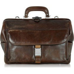 Chiarugi Designer Doctor Bags, Large Brown Hammered Leather Doctor Bag