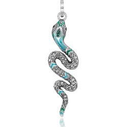 Thomas Sabo Designer Necklaces, Blackened Sterling Silver, Enamel and Glass-ceramic Stones Snake Pendant