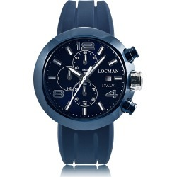 Locman Designer Men's Watches, Tondo Blue PVD Stainless Steel Chronograph Men's Watch w/Leather and Silicone Band Set found on Bargain Bro UK from FORZIERI.COM (UK)