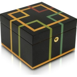 Forzieri Jewelry Boxes, Black Geometric Inlaid Wood Jewelry Box