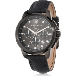 Maserati Designer Men's Watches, Successo Black Stainless Steel Case and Leather Strap Men's Chrono Watch found on Bargain Bro Philippines from Forzieri for $269.00