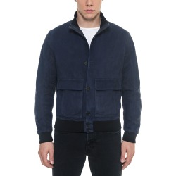 Forzieri Leather Jackets, Midnight Blue Suede Men's Bomber Jacket