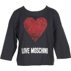 Love Moschino Designer T-Shirts & Tops, Black Cotton Women's Long Sleeve T-Shirt w/Crystals Heart found on Bargain Bro UK from FORZIERI.COM (UK)