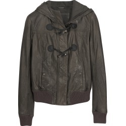 Forzieri Leather Jackets, Brown Hooded Leather Jacket