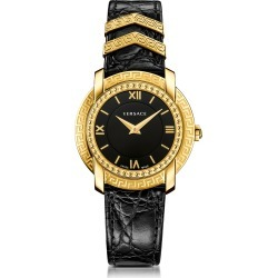 Versace Designer Women's Watches, DV25 Round Black and Gold Women's Watch w/Croco Embossed Band and Metal Inserts found on Bargain Bro Philippines from Forzieri for $1360.00