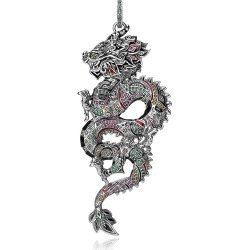 Thomas Sabo Designer Necklaces, Blackened Sterling Silver, Enamel and Multicolor Glass-ceramic Stones Small Chinese Dragon Pendant