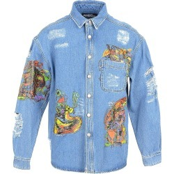 Jeremy Scott Designer Shirts, Distressed Denim Men's Shirt w/Patches found on MODAPINS from Forzieri for USD $454.00
