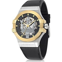 Maserati Designer Men's Watches, Potenza Two Tone Stainless Steel Case and Black Leather Strap Men's Watch found on Bargain Bro Philippines from Forzieri for $599.00