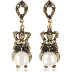 Alcozer & J Designer Earrings, Crowned Owl Earrings w/Pearls found on Bargain Bro UK from FORZIERI.COM (UK)