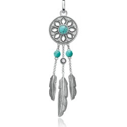 Thomas Sabo Designer Necklaces, Blackened Sterling Silver Feather Pendant w/ White Cubic Zirconia and Turquoise