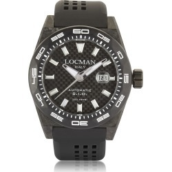 Locman Designer Men's Watches, Stealth 300 mt Automatic Black Carbon Fiber and Titanium Case w/ Silicone Strap Men's Watch found on Bargain Bro UK from FORZIERI.COM (UK)