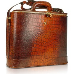 Pratesi Briefcases, Croco Stamped Leather Laptop Business Bag w/Courtesy Light
