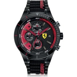 Ferrari Designer Men's Watches, RedRev Evo Black and Red Stainless Steel Case and Silicone Strap Men's Chrono Watch found on Bargain Bro UK from FORZIERI.COM (UK)