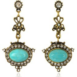 Alcozer & J Designer Earrings, Magnesite Goldtone Brass Earrings w/Crystals found on Bargain Bro UK from FORZIERI.COM (UK)