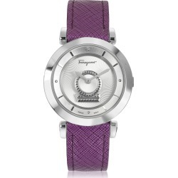 Salvatore Ferragamo Designer Women's Watches, Minuetto Silver Tone Stainless Steel Case and Purple Leather Strap Women's Watch found on Bargain Bro UK from FORZIERI.COM (UK)