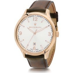 Maserati Designer Men's Watches, Attrazione Gold Tone Stainless Steel Case and Brown Leather Strap Men's Crono Watch found on Bargain Bro Philippines from Forzieri for $476.00