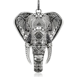 Thomas Sabo Designer Necklaces, Blackened Sterling Elephant Pendant w/Onyx and Zirconia