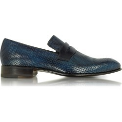 Forzieri Designer Shoes, Italian Handcrafted Ocean Blue Perforated Leather Loafer Shoe found on Bargain Bro Philippines from Forzieri for $660.00