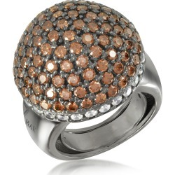 Azhar Designer Rings, Sterling Silver Cubic Zirconia Semi-Sphere Cocktail Ring found on Bargain Bro UK from FORZIERI.COM (UK)