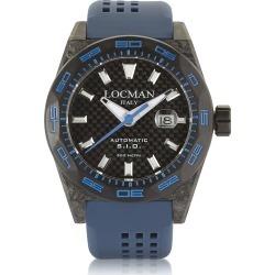 Locman Designer Men's Watches, Stealth 300 mt Automatic Black Carbon Fiber and Titanium Case w/Blue Silicone Strap Men's Watch found on Bargain Bro UK from FORZIERI.COM (UK)