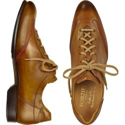 Forzieri Designer Shoes, Men's Brown Handmade Italian Leather Lace-up Shoes