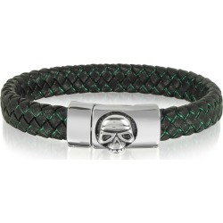 Blackbourne Designer Men's Bracelets, Black Woven Leather Men's bracelet w/Stainless Steel Skull found on Bargain Bro UK from FORZIERI.COM (UK)