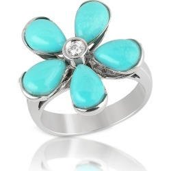 Del Gatto Designer Rings, Diamond and Turquoise Flower 18K Gold Ring found on Bargain Bro UK from FORZIERI.COM (UK)