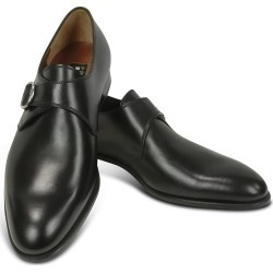 Fratelli Rossetti Designer Shoes, Black Calf Leather Monk Strap Shoes