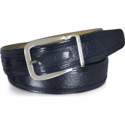 Moreschi Men's Belts, Lione Navy Blue Peccary and Leather Belt