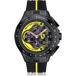 Ferrari Designer Men's Watches, Race Day Black and Yellow Stainless Steel Case and Silicone Strap Men's Chrono Watch found on Bargain Bro Philippines from Forzieri for $405.00