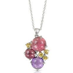 Mia & Beverly Necklaces, Gemstones 18K White Gold Pendant Necklace