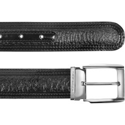 Moreschi Men's Belts, Chiasso - Black Peccary and Calf Leather Belt