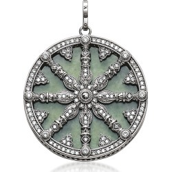 Thomas Sabo Designer Necklaces, Blackened Sterling Silver Pendant w/White Cubic Zirconia and Green Aventurine