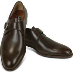 Fratelli Rossetti Designer Shoes, Dark Brown Calf Leather Monk Strap Shoes