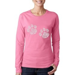 Meow Cat Prints Word Art Ladies Long Sleeve T-Shirt LA Pop Art GameStop found on Bargain Bro India from Game Stop US for $19.99