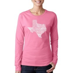 The Cities of Texas Word Art Ladies Long Sleeve T-Shirt LA Pop Art GameStop found on Bargain Bro India from Game Stop US for $19.99
