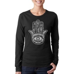 Protect in Different Languages Hamsa Hand Word Art Ladies Long Sleeve T-Shirt LA Pop Art GameStop found on Bargain Bro India from Game Stop US for $19.99