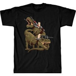 Threadless Cats Riding T-Rexs T-Shirt Available At GameStop Now!