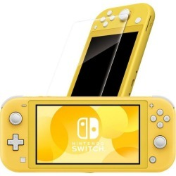 Nintendo Switch Lite Yellow with Tempered Glass Screen Protector System Bundle
