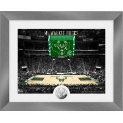NBA Milwaukee Bucks Art Deco Court Silver Coin Mint Photograph Highland Mint GameStop found on Bargain Bro from Game Stop US for USD $53.19
