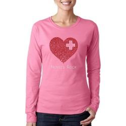 Nurses Rock Heart Word Art Ladies Long Sleeve T-Shirt LA Pop Art GameStop found on Bargain Bro India from Game Stop US for $19.99