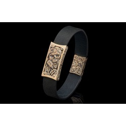 William Henry La Grange Bronze Skull Black Leather Bracelet