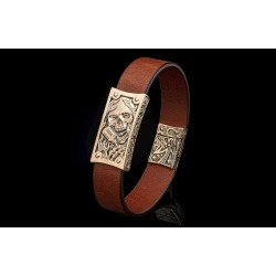 William Henry La Grange Bronze Skull Brown Leather Bracelet
